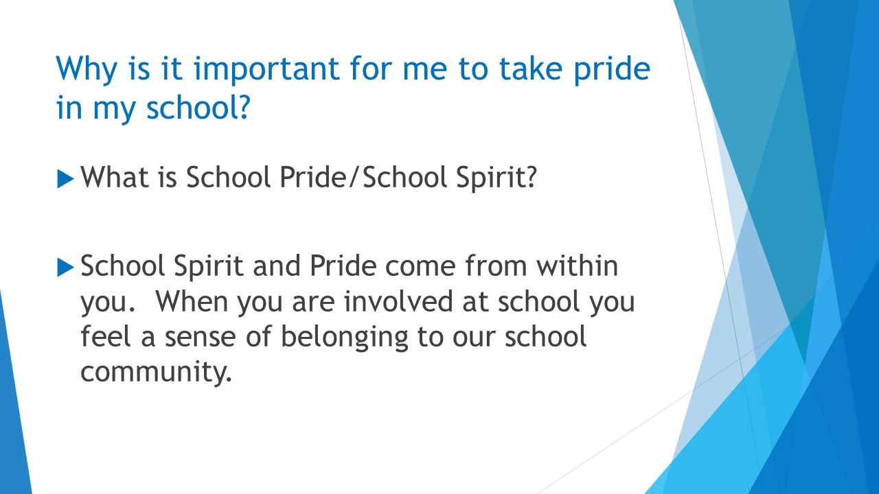 Why is it important for me to take pride in my school.