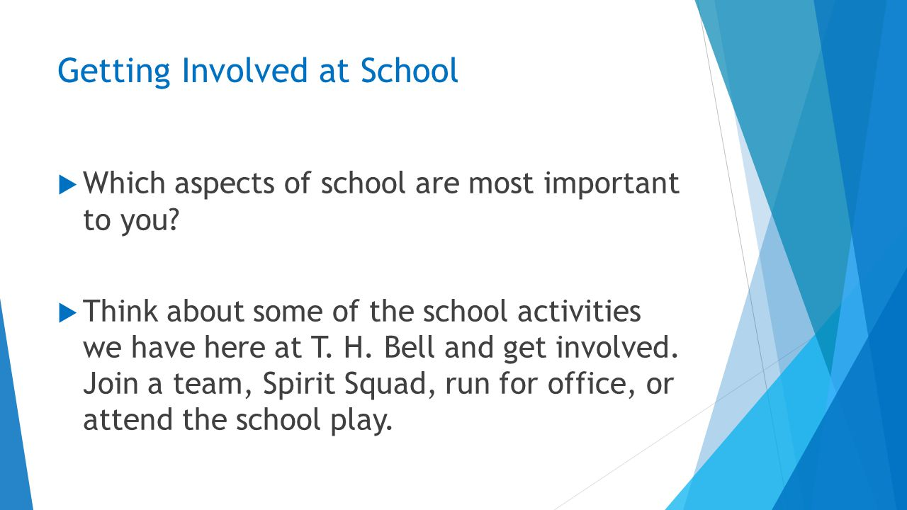 Getting Involved at School  Which aspects of school are most important to you.