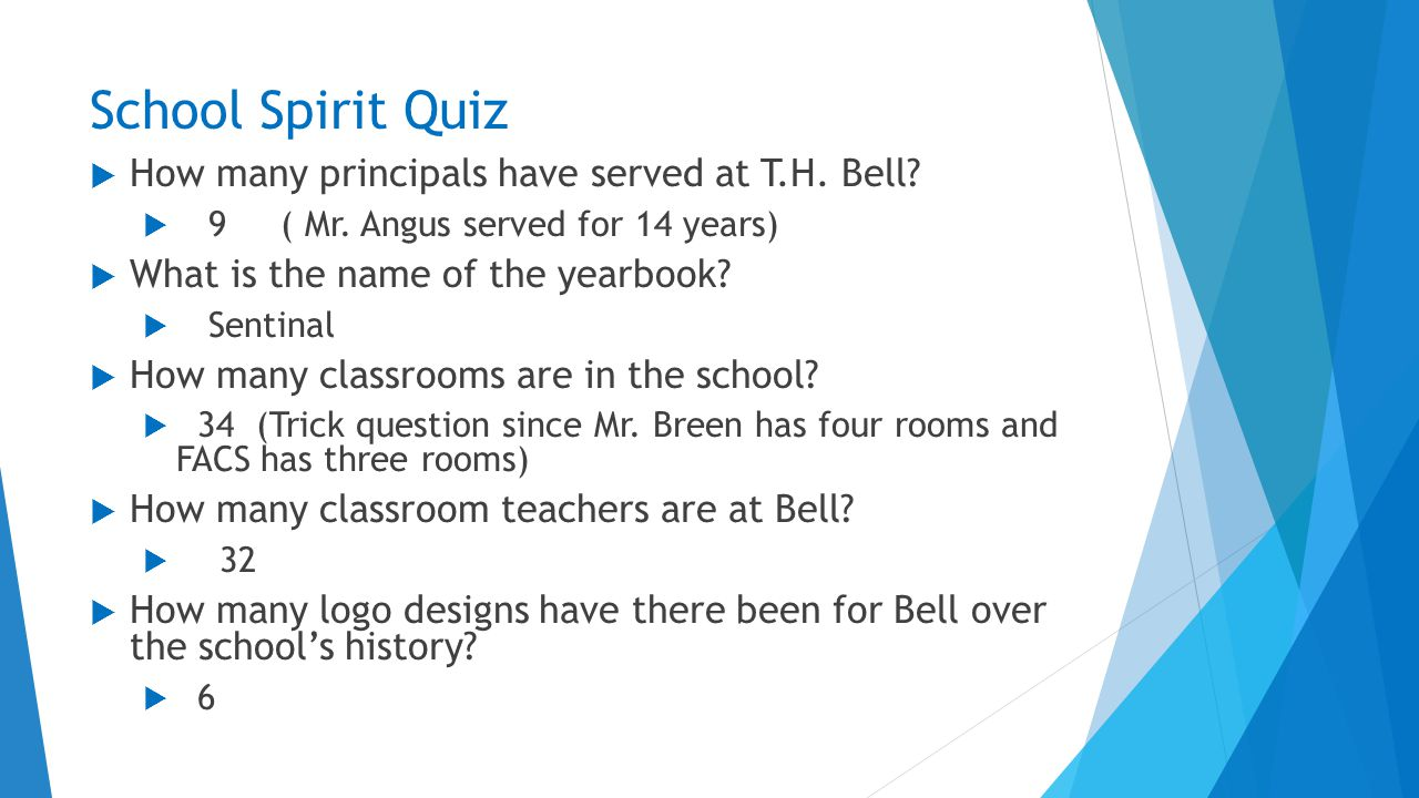 School Spirit Quiz  How many principals have served at T.H.