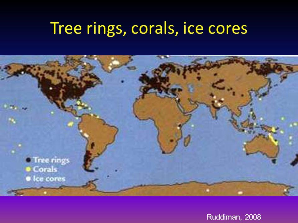 Tree rings, corals, ice cores Ruddiman, 2008