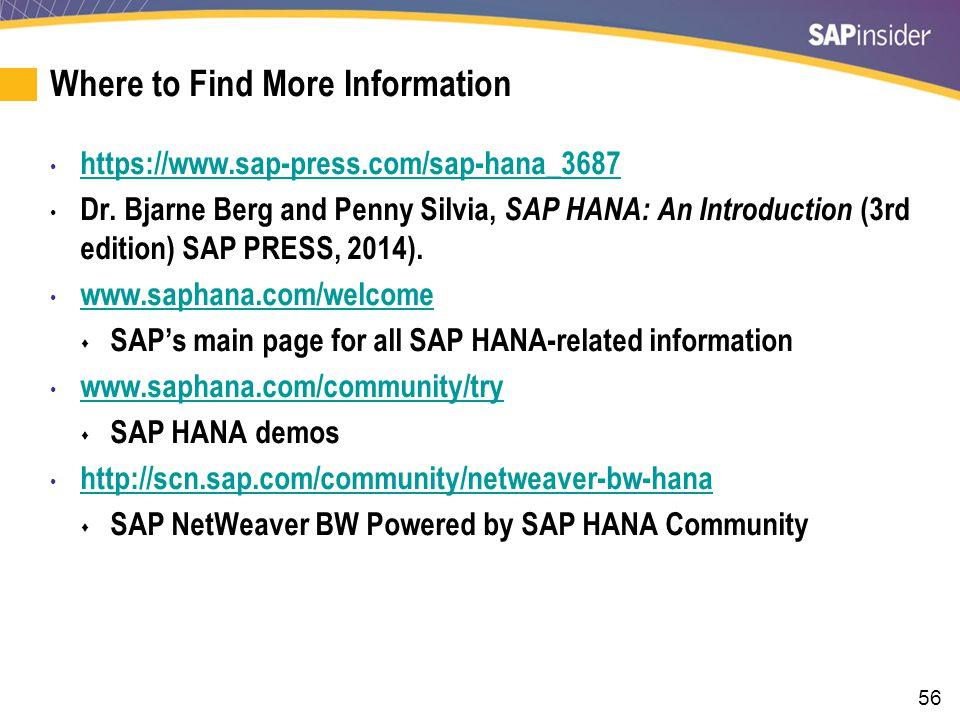56 Where to Find More Information https://www.sap-press.com/sap-hana_3687 Dr.