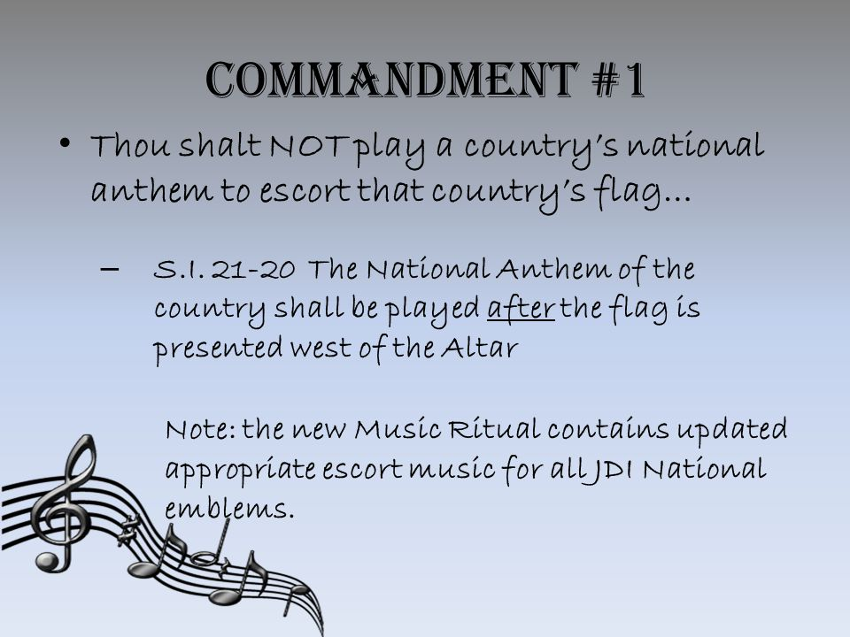 Commandment #1 Thou shalt NOT play a country's national anthem to escort that country's flag… – S.I.
