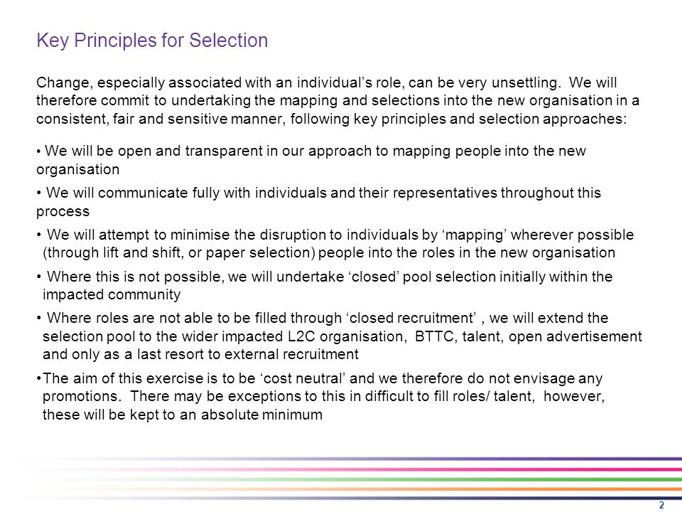 2 Key Principles for Selection Change, especially associated with an individual's role, can be very unsettling.