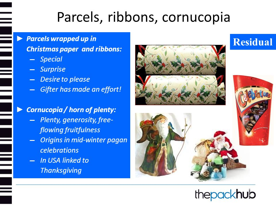 Parcels, ribbons, cornucopia ► Parcels wrapped up in Christmas paper and ribbons: ▬ Special ▬ Surprise ▬ Desire to please ▬ Gifter has made an effort!