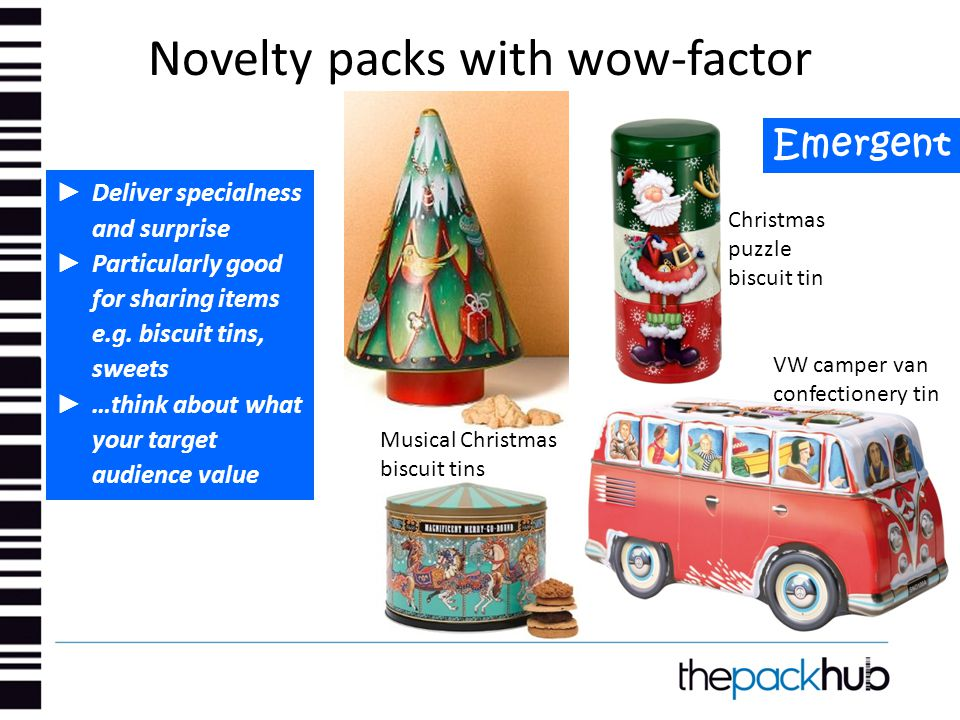 Novelty packs with wow-factor Emergent ► Deliver specialness and surprise ► Particularly good for sharing items e.g. biscuit tins, sweets ► …think abo