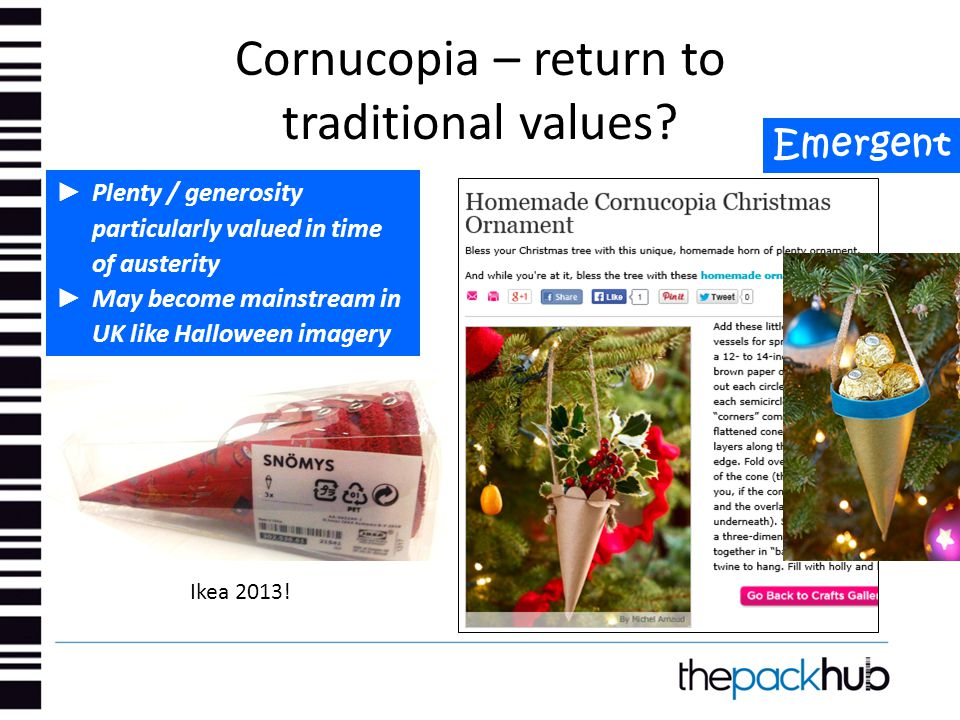 Cornucopia – return to traditional values? Emergent ► Plenty / generosity particularly valued in time of austerity ► May become mainstream in UK like