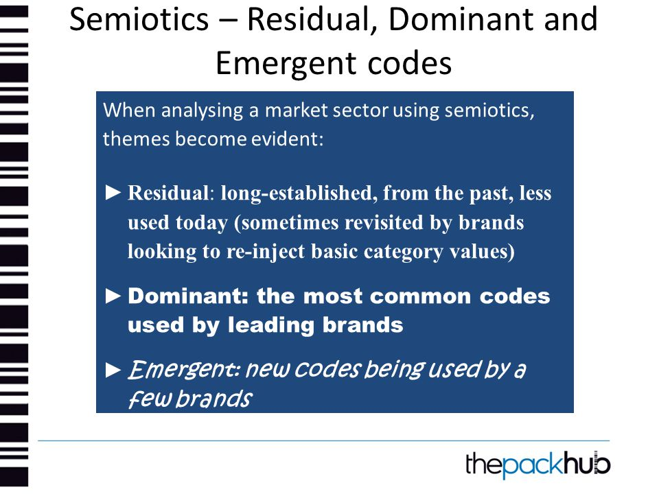 Semiotics – Residual, Dominant and Emergent codes When analysing a market sector using semiotics, themes become evident: ► Residual: long-established,