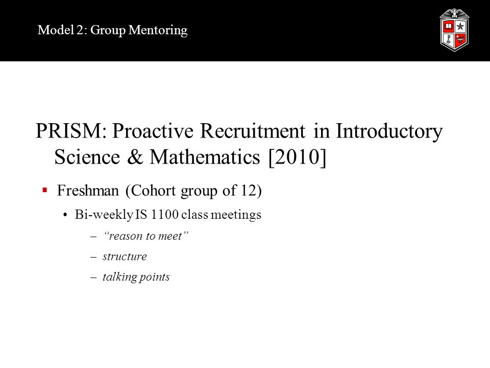 Model 2: Group Mentoring PRISM: Proactive Recruitment in Introductory Science & Mathematics [2010]  Freshman (Cohort group of 12) Bi-weekly IS 1100 class meetings – reason to meet –structure –talking points