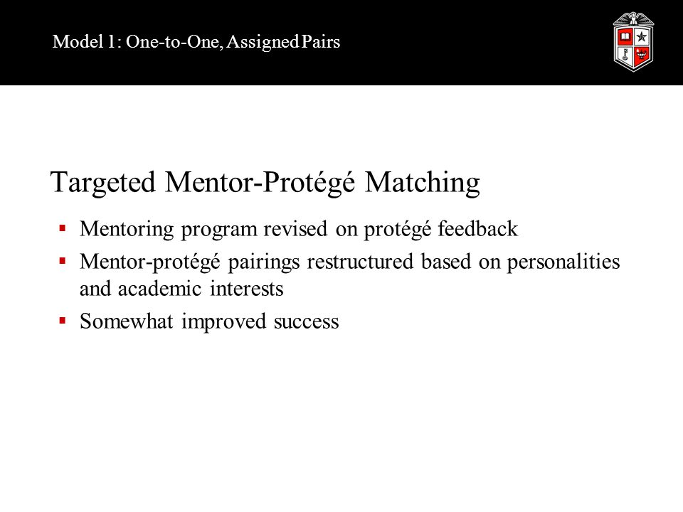 Model 1: One-to-One, Assigned Pairs Targeted Mentor-Protégé Matching  Mentoring program revised on protégé feedback  Mentor-protégé pairings restructured based on personalities and academic interests  Somewhat improved success