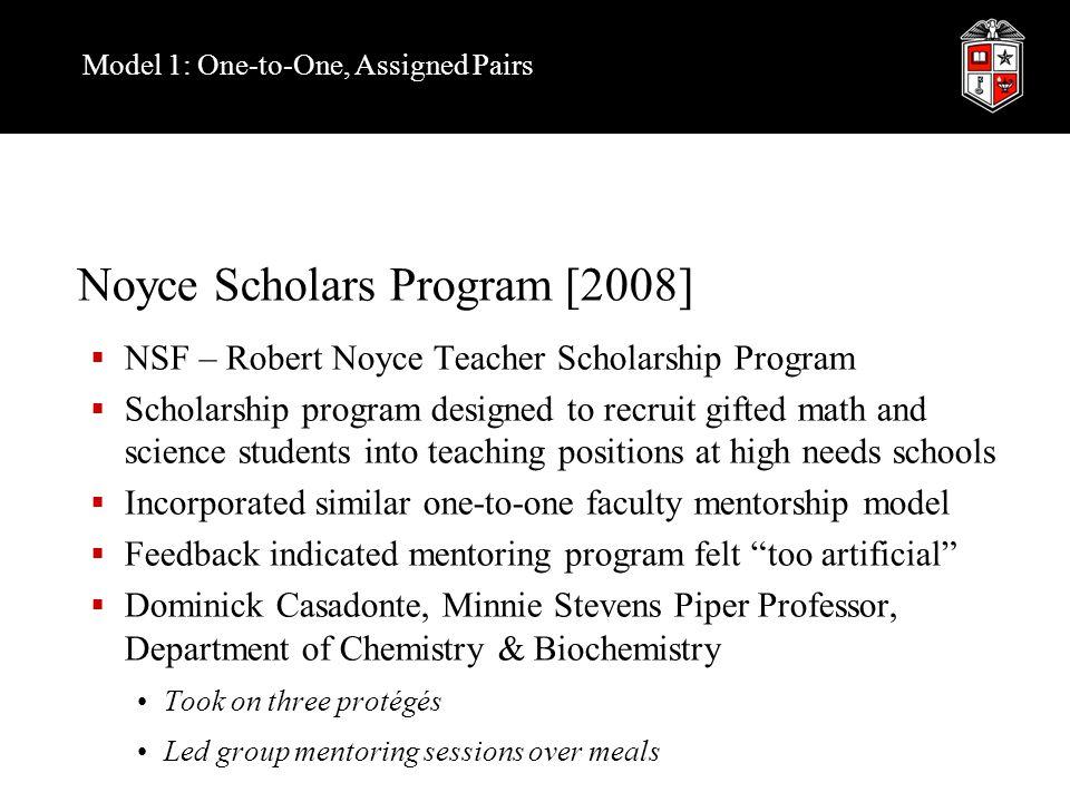 Model 1: One-to-One, Assigned Pairs Noyce Scholars Program [2008]  NSF – Robert Noyce Teacher Scholarship Program  Scholarship program designed to r