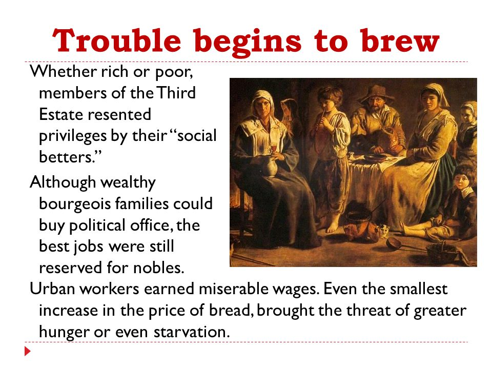 """Trouble begins to brew Whether rich or poor, members of the Third Estate resented privileges by their """"social betters."""" Although wealthy bourgeois fam"""