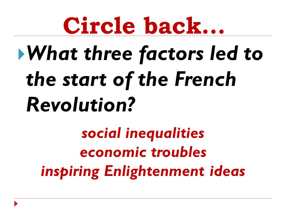  What three factors led to the start of the French Revolution? Circle back... social inequalities economic troubles inspiring Enlightenment ideas