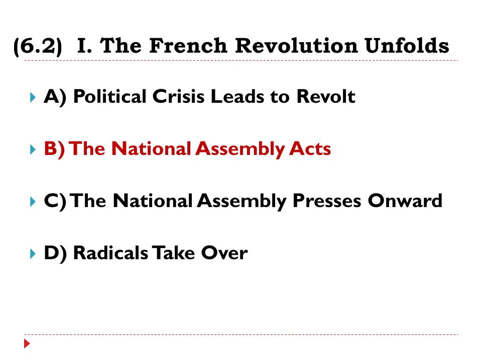 (6.2) I. The French Revolution Unfolds  A) Political Crisis Leads to Revolt  B) The National Assembly Acts  C) The National Assembly Presses Onward