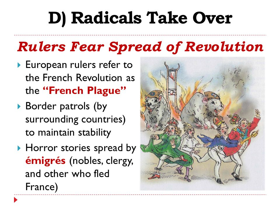"""D) Radicals Take Over Rulers Fear Spread of Revolution  European rulers refer to the French Revolution as the """"French Plague""""  Border patrols (by su"""