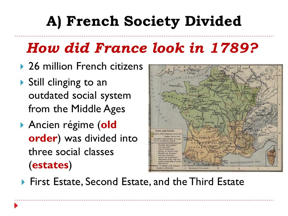 A) French Society Divided  26 million French citizens  Still clinging to an outdated social system from the Middle Ages  Ancien régime (old order)