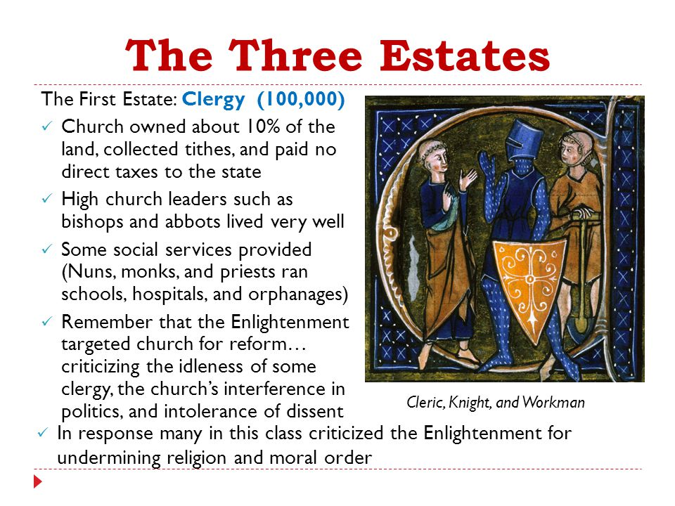 The Three Estates The First Estate: Clergy (100,000) Church owned about 10% of the land, collected tithes, and paid no direct taxes to the state High