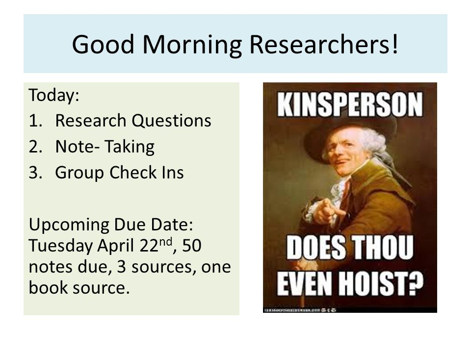 Good Morning Researchers.