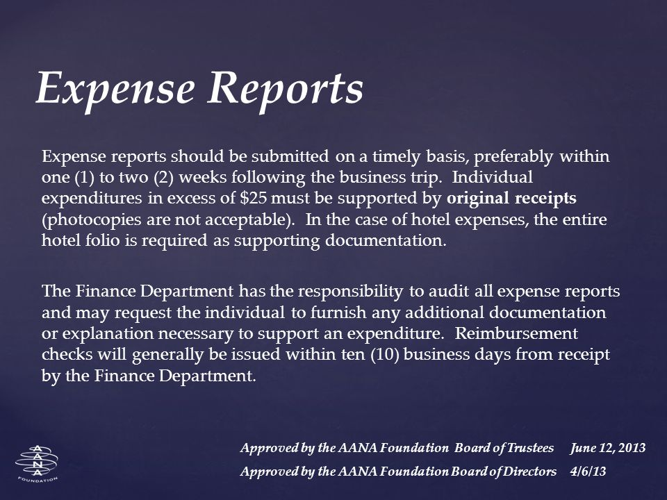 Expense Reports Expense reports should be submitted on a timely basis, preferably within one (1) to two (2) weeks following the business trip.