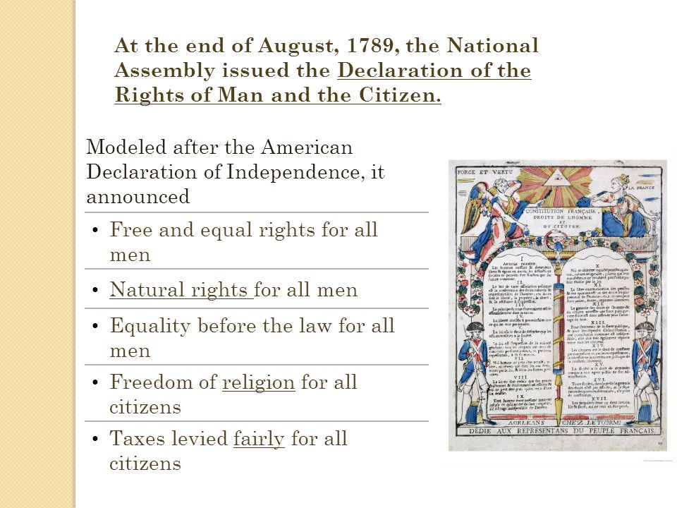 Free and equal rights for all men Natural rights for all men Equality before the law for all men Freedom of religion for all citizens Taxes levied fai