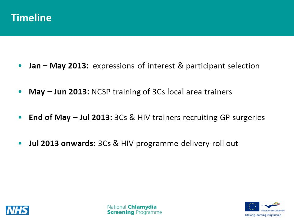 Timeline Jan – May 2013: expressions of interest & participant selection May – Jun 2013: NCSP training of 3Cs local area trainers End of May – Jul 2013: 3Cs & HIV trainers recruiting GP surgeries Jul 2013 onwards: 3Cs & HIV programme delivery roll out