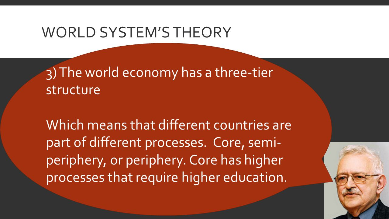 WORLD SYSTEM'S THEORY 3) The world economy has a three-tier structure Which means that different countries are part of different processes.