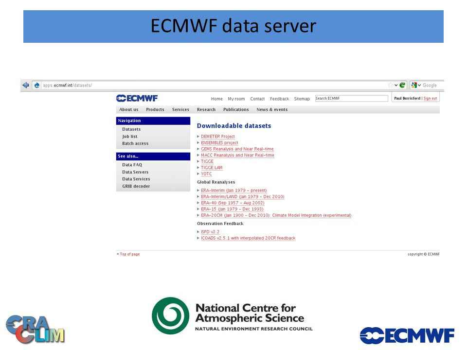 ECMWF data server: ERA-Interim