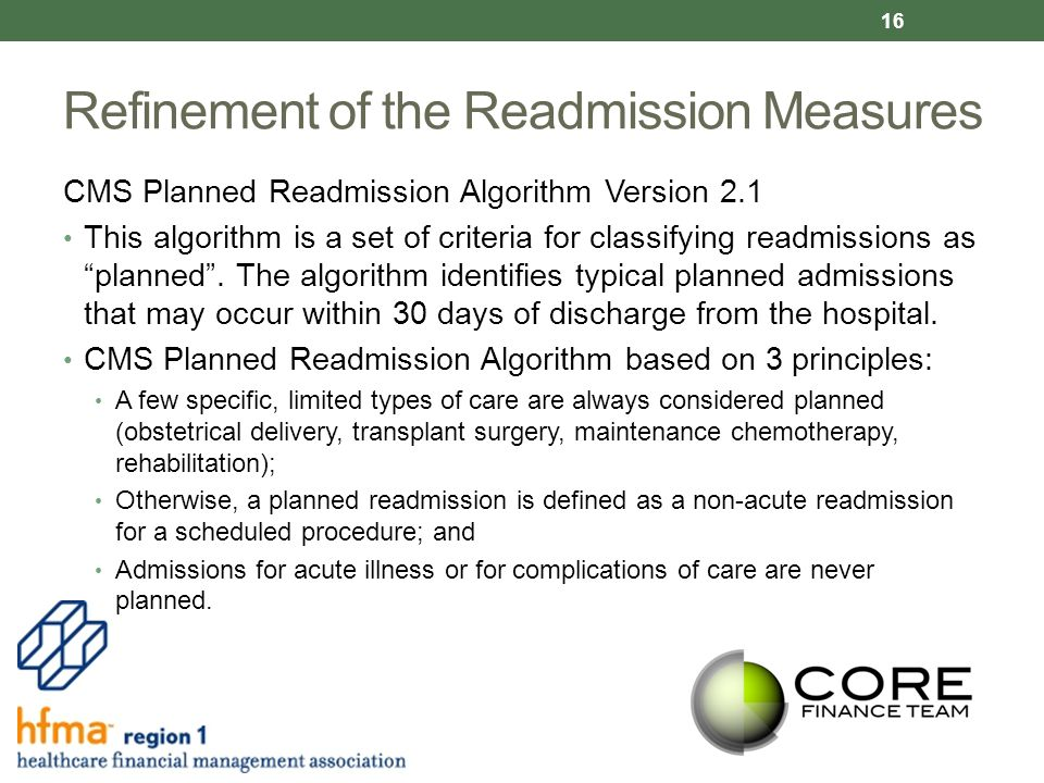 Refinement of the Readmission Measures CMS Planned Readmission Algorithm Version 2.1 This algorithm is a set of criteria for classifying readmissions as planned .