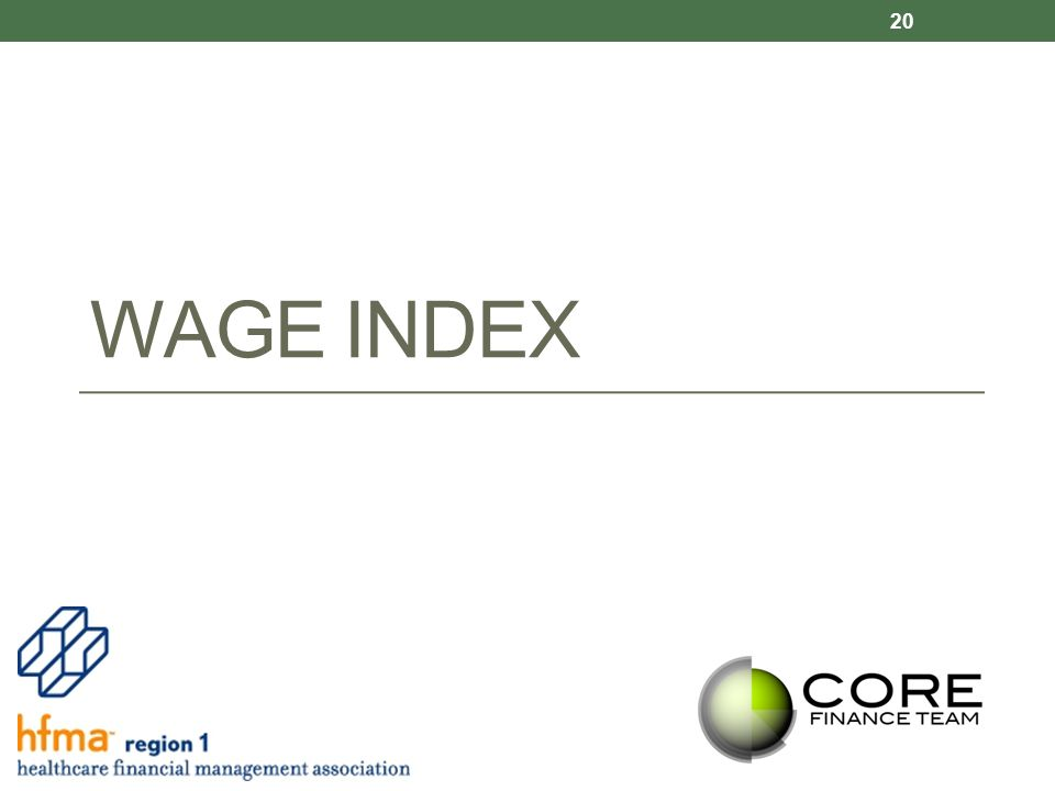 WAGE INDEX 20