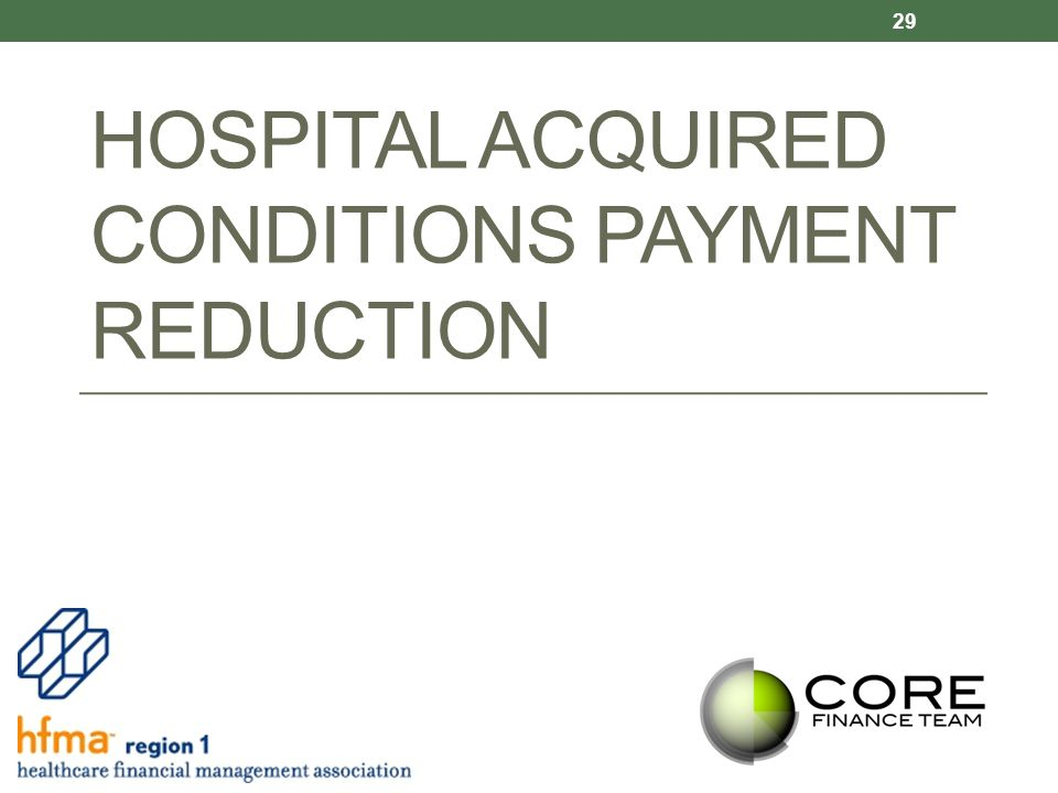 HOSPITAL ACQUIRED CONDITIONS PAYMENT REDUCTION 29