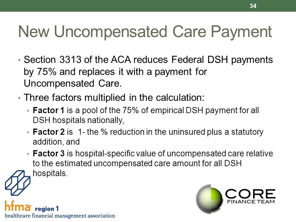 New Uncompensated Care Payment Section 3313 of the ACA reduces Federal DSH payments by 75% and replaces it with a payment for Uncompensated Care.