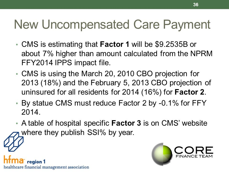 New Uncompensated Care Payment CMS is estimating that Factor 1 will be $9.2535B or about 7% higher than amount calculated from the NPRM FFY2014 IPPS impact file.