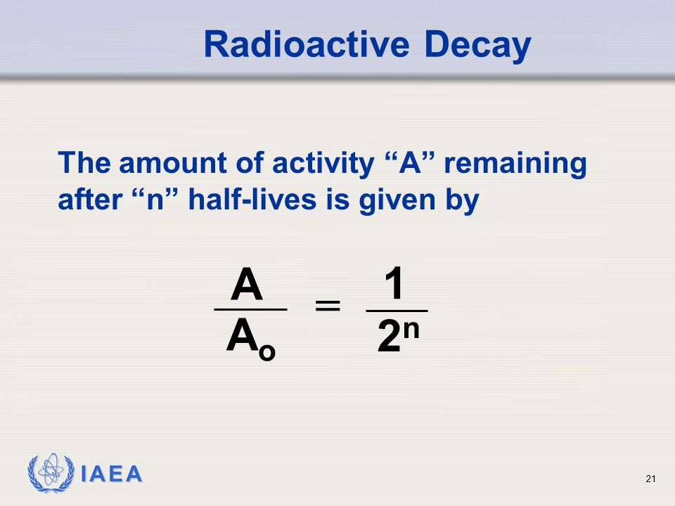 IAEA The amount of activity A remaining after n half-lives is given by Radioactive Decay A AoAo 1 2n2n = 21