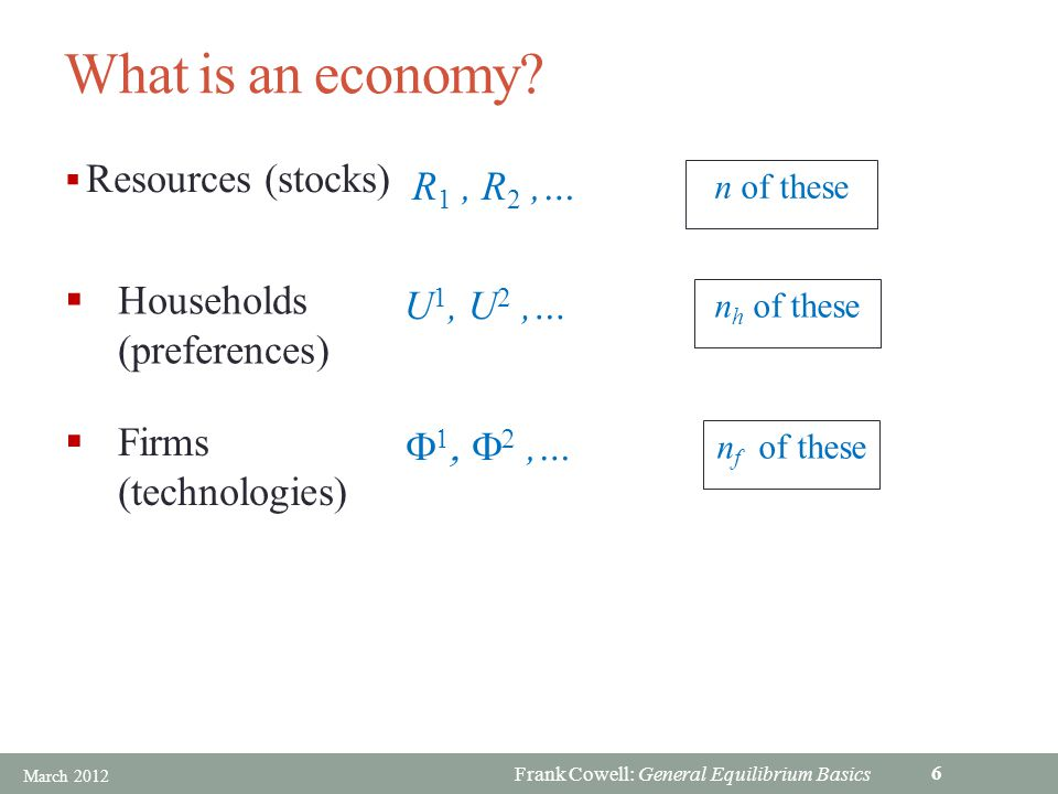 Frank Cowell: General Equilibrium Basics Overview… The economy and allocations Incomes Equilibrium General Equilibrium: Basics Specification and examples March 2012 17