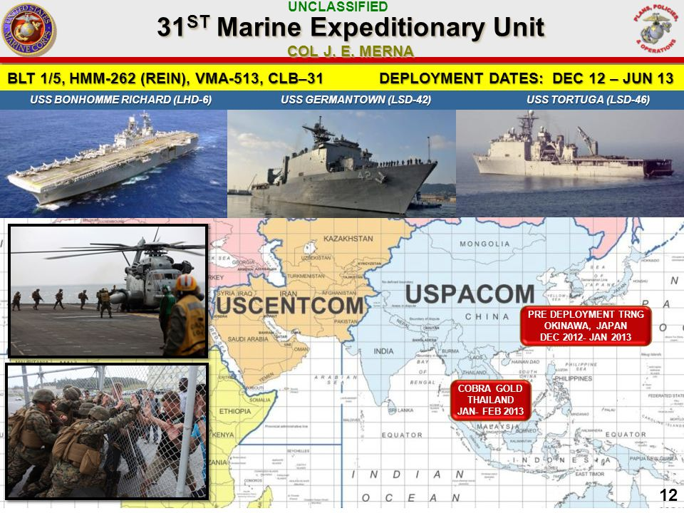 UNCLASSIFIED BLT 1/5, HMM-262 (REIN), VMA-513, CLB–31 DEPLOYMENT DATES: DEC 12 – JUN 13 31 ST Marine Expeditionary Unit COL J.