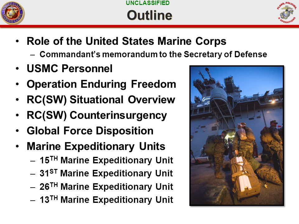 UNCLASSIFIED Outline Role of the United States Marine Corps –Commandant's memorandum to the Secretary of Defense USMC Personnel Operation Enduring Freedom RC(SW) Situational Overview RC(SW) Counterinsurgency Global Force Disposition Marine Expeditionary Units –15 TH Marine Expeditionary Unit –31 ST Marine Expeditionary Unit –26 TH Marine Expeditionary Unit –13 TH Marine Expeditionary Unit