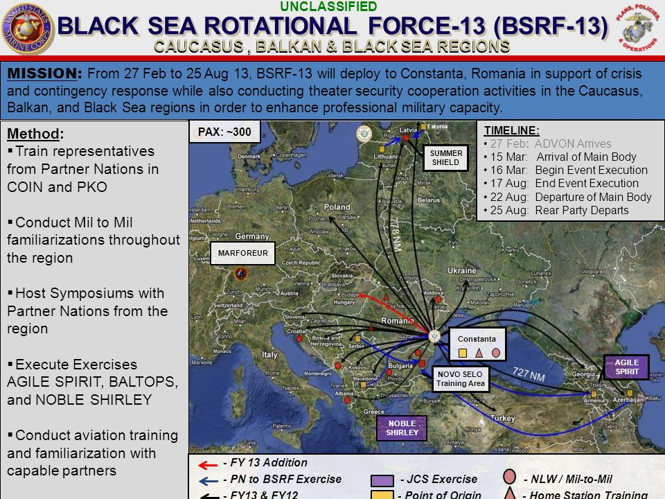 UNCLASSIFIED Method:  Train representatives from Partner Nations in COIN and PKO  Conduct Mil to Mil familiarizations throughout the region  Host Symposiums with Partner Nations from the region  Execute Exercises AGILE SPIRIT, BALTOPS, and NOBLE SHIRLEY  Conduct aviation training and familiarization with capable partners BLACK SEA ROTATIONAL FORCE-13 (BSRF-13) CAUCASUS, BALKAN & BLACK SEA REGIONS MISSION : From 27 Feb to 25 Aug 13, BSRF-13 will deploy to Constanta, Romania in support of crisis and contingency response while also conducting theater security cooperation activities in the Caucasus, Balkan, and Black Sea regions in order to enhance professional military capacity.