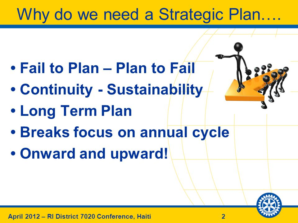 2April 2012 – RI District 7020 Conference, Haiti Why do we need a Strategic Plan….