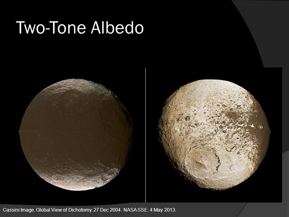 Two-Tone Albedo Cassini Image. Global View of Dichotomy. 27 Dec 2004. NASA SSE. 4 May 2013.