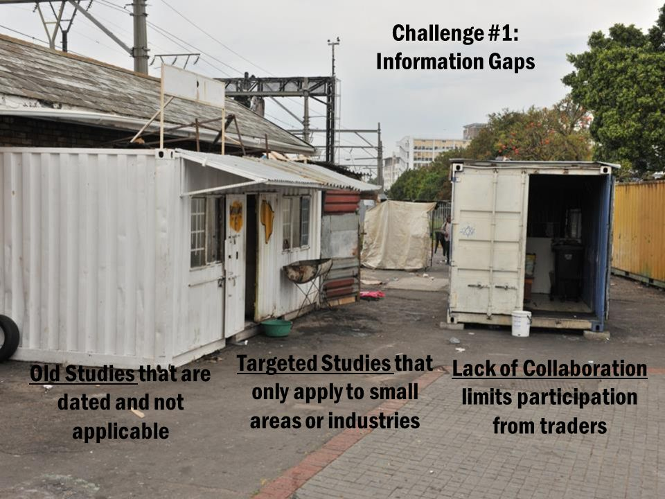 Challenge #1: Information Gaps Old Studies that are dated and not applicable Targeted Studies that only apply to small areas or industries Lack of Collaboration limits participation from traders