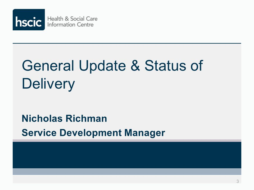 General update and status of delivery Delay due to difficulty obtaining funding Funding for 2014/15 now approved Number of new additions brought forward from version 2 This initial release now referred to as v1.5 ISN going to November 2014 SCCI Board although may be brought forward Go-live planned for July 2015
