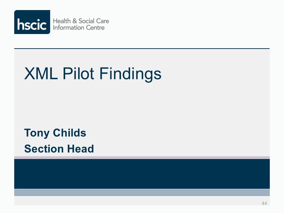 XML Pilot Findings Tony Childs Section Head 44