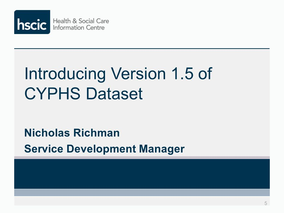 Introducing Version 1.5 of CYPHS Dataset Nicholas Richman Service Development Manager 5
