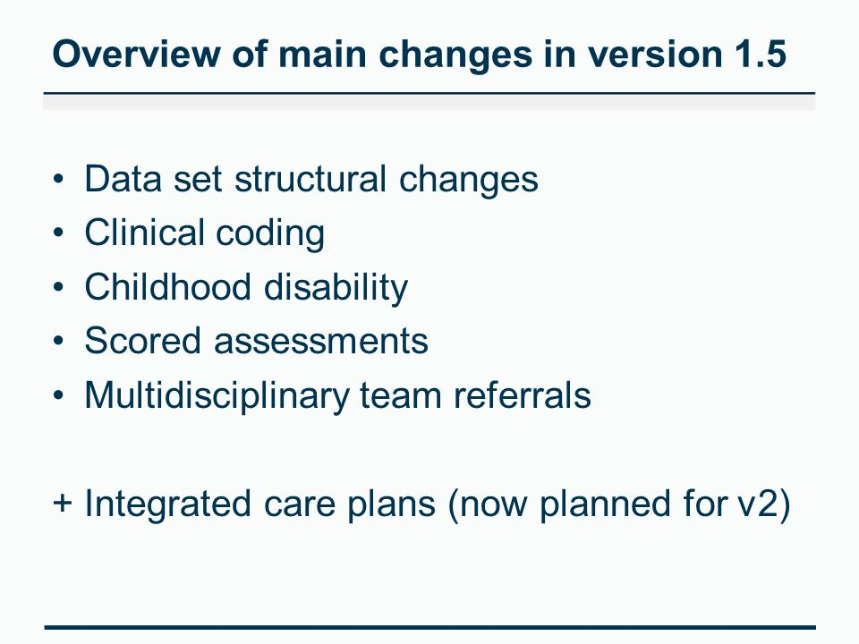 Other changes considered for version 1.5 'Local Patient ID' extended to max an20 New organisational codes –'Educational Establishment' –'Local Authority' + 'Social Services Client ID' New end of life pathway items –'Preferred Death Location Discussed' –'Death Not at Preferred Location Reason' Referral table is no longer mandated