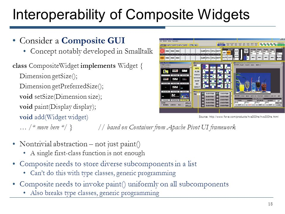 Interoperability of Composite Widgets Consider a Composite GUI Concept notably developed in Smalltalk class CompositeWidget implements Widget { Dimens