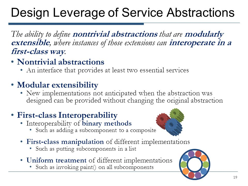Design Leverage of Service Abstractions The ability to define nontrivial abstractions that are modularly extensible, where instances of those extensio