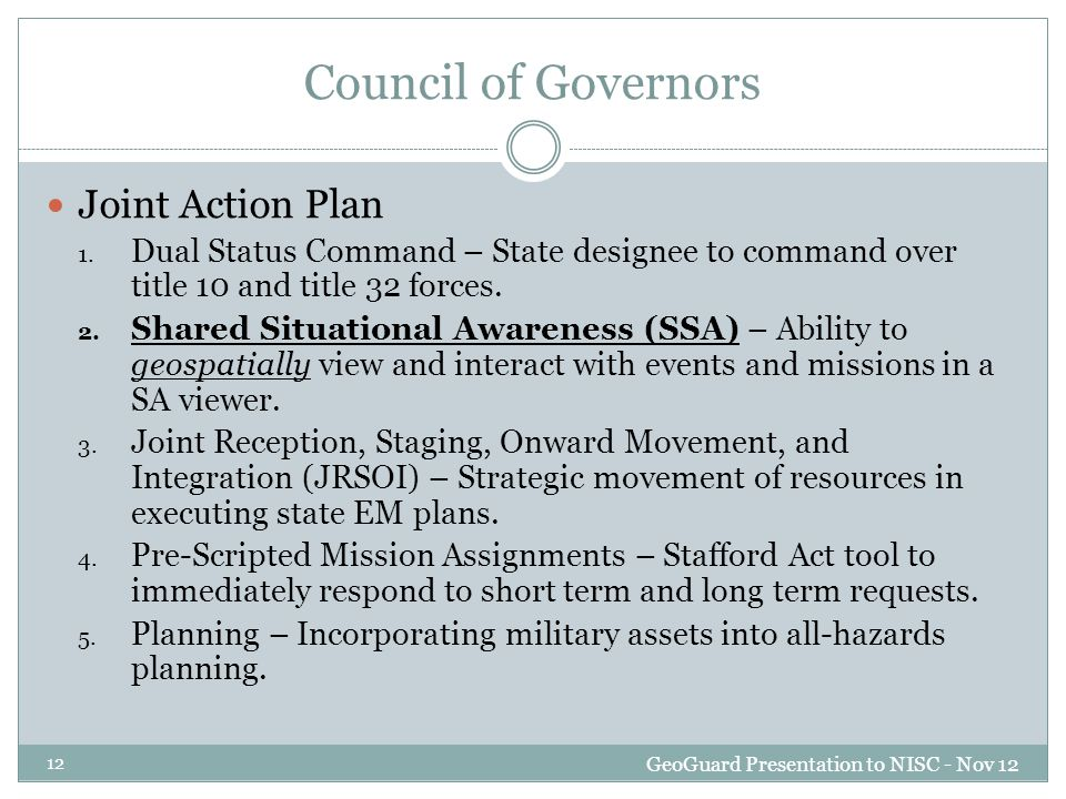 Council of Governors Joint Action Plan 1.