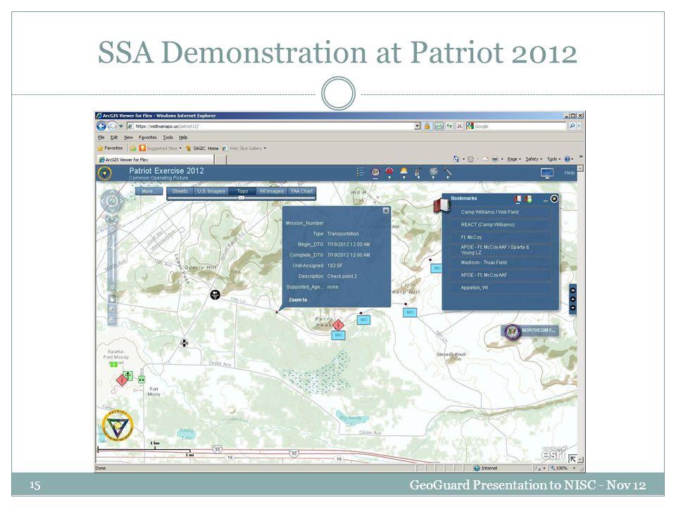 SSA Demonstration at Patriot 2012 GeoGuard Presentation to NISC - Nov 12 15