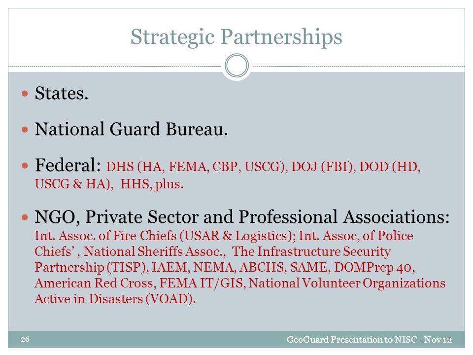 Strategic Partnerships GeoGuard Presentation to NISC - Nov 12 26 States.