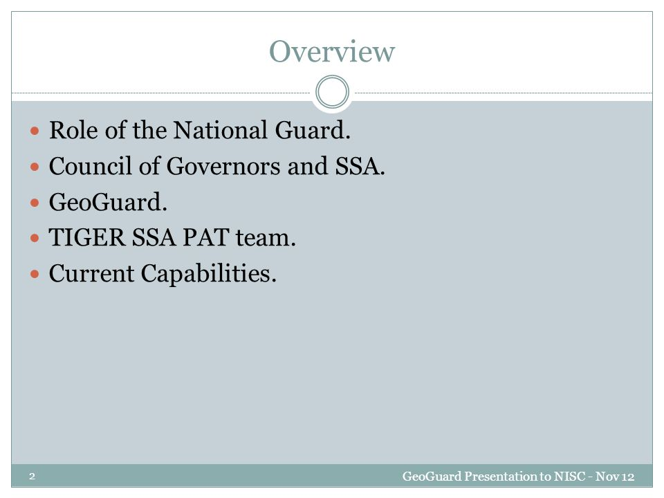 Role of the National Guard GeoGuard Presentation to NISC - Nov 12 3