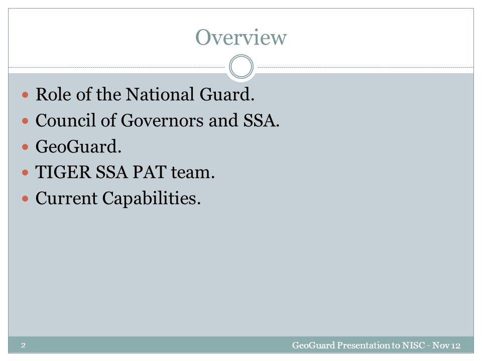 23 GeoGuard Presentation to NISC - Nov 12 TIGER SSA PAT team